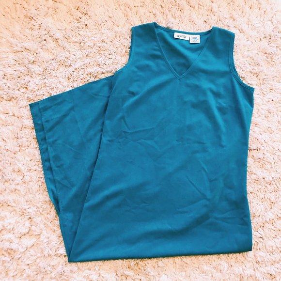 Vintage Dresses & Skirts - Vintage Units Bright Blue V-Neck Maxi Dress